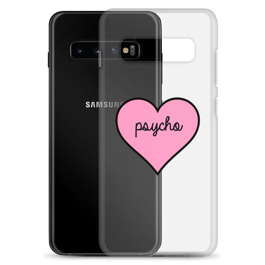 Psycho Cute Pink Heart Clear Transparent Samsung Case