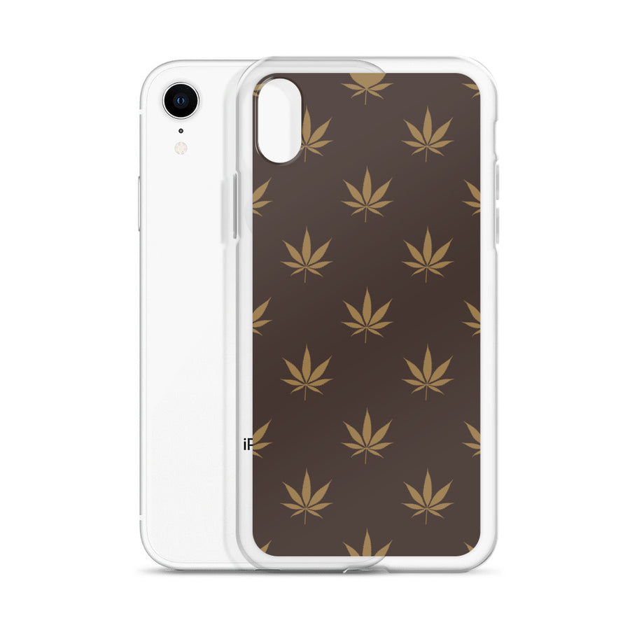 Brown Gold Cannabis Pattern iPhone Case