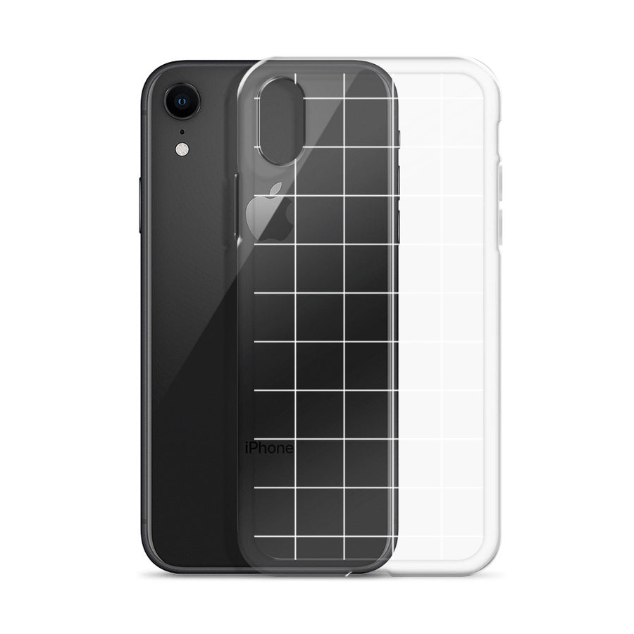 Minimal White Grid Pattern Transparent Clear iPhone Case
