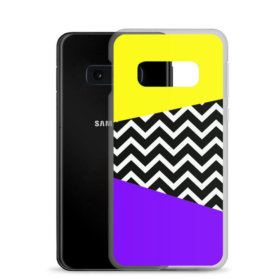 Vintage 80's bright yellow purple chevron pop Samsung Case