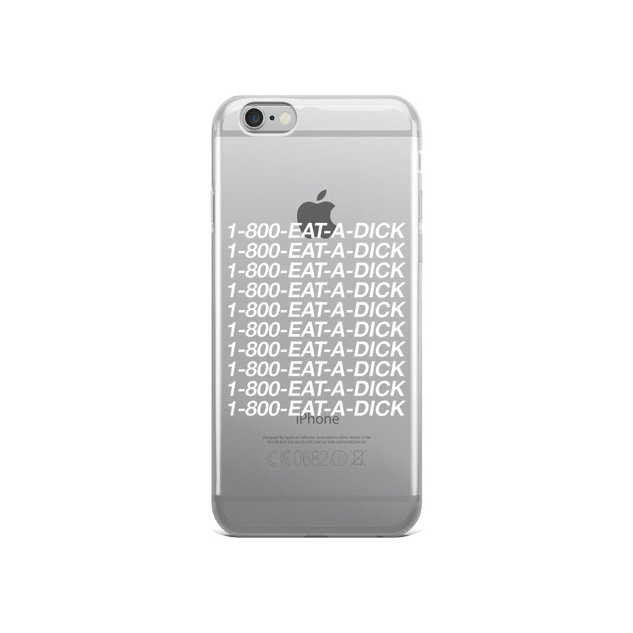 1-800-Eat-A-Dick Clear Transparent iPhone Case