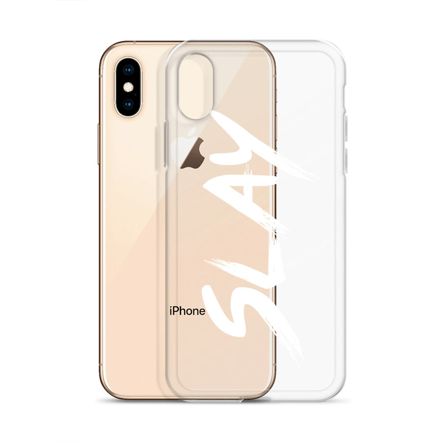 Slay Transparent Brushstroke Typography iPhone Case