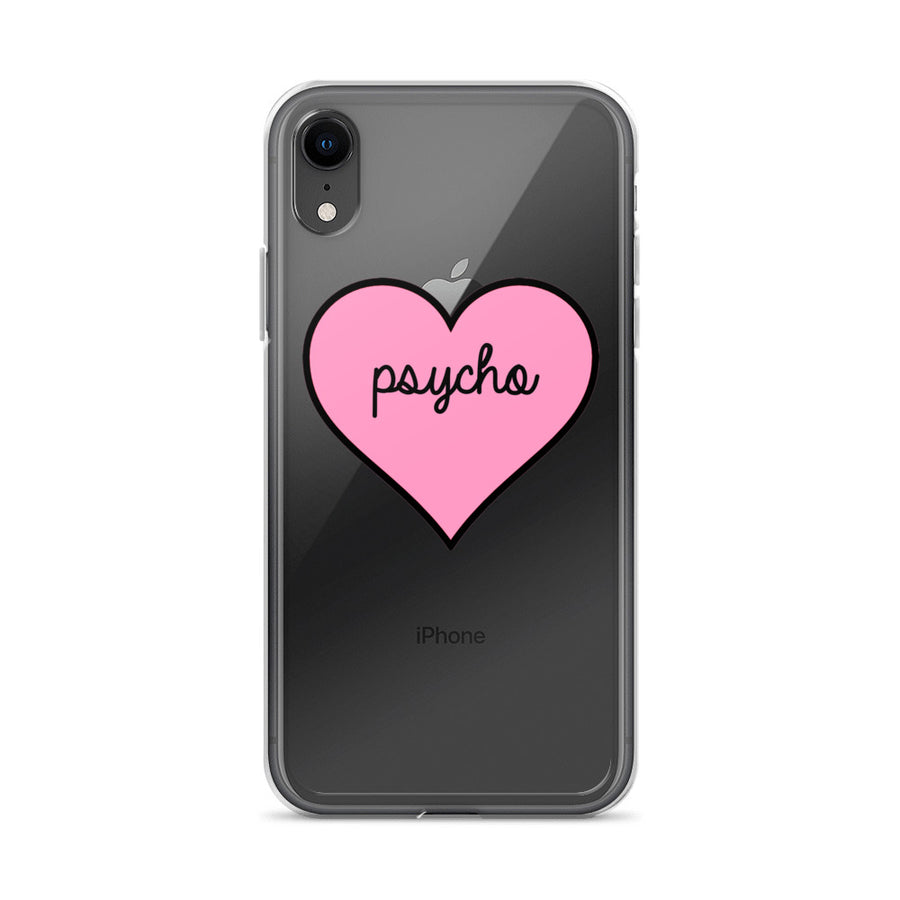 Psycho Pink Heart Transparent iPhone Case