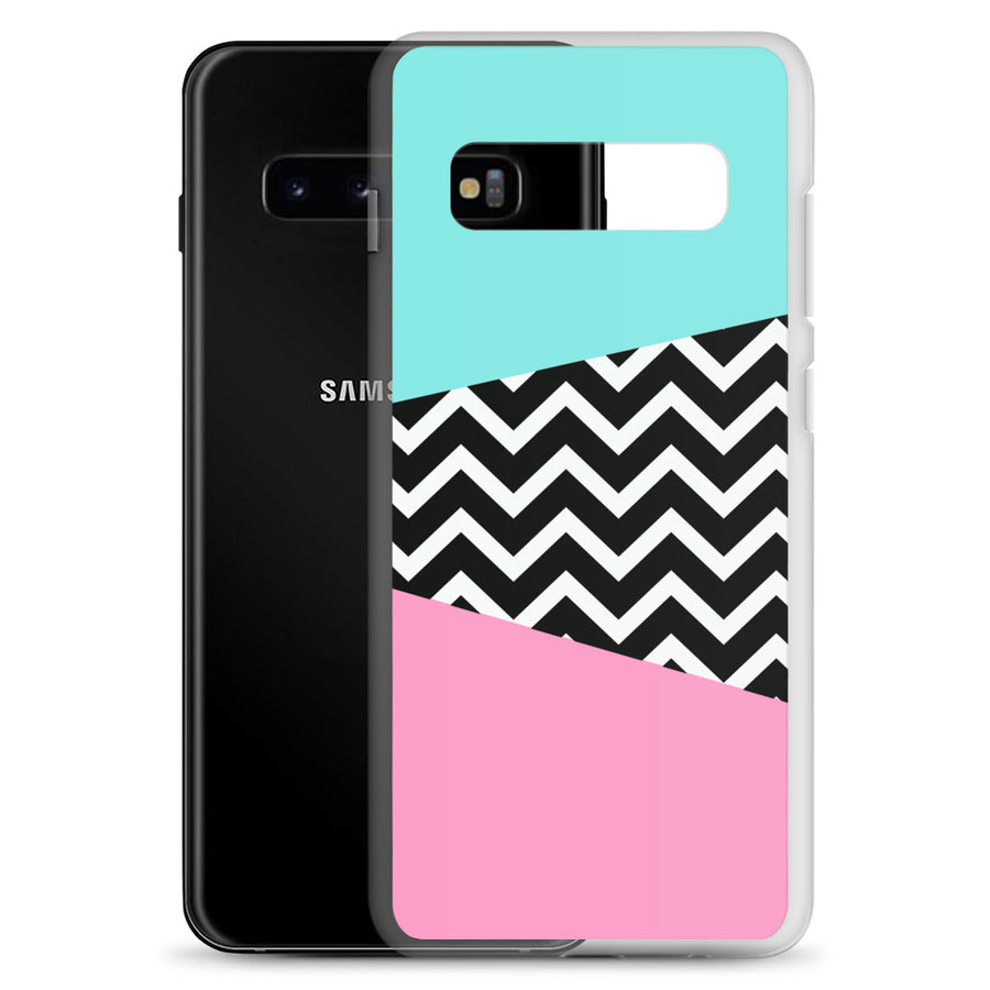 VIntage 80's Miami Blue Pink Chevron Pop Samsung Case