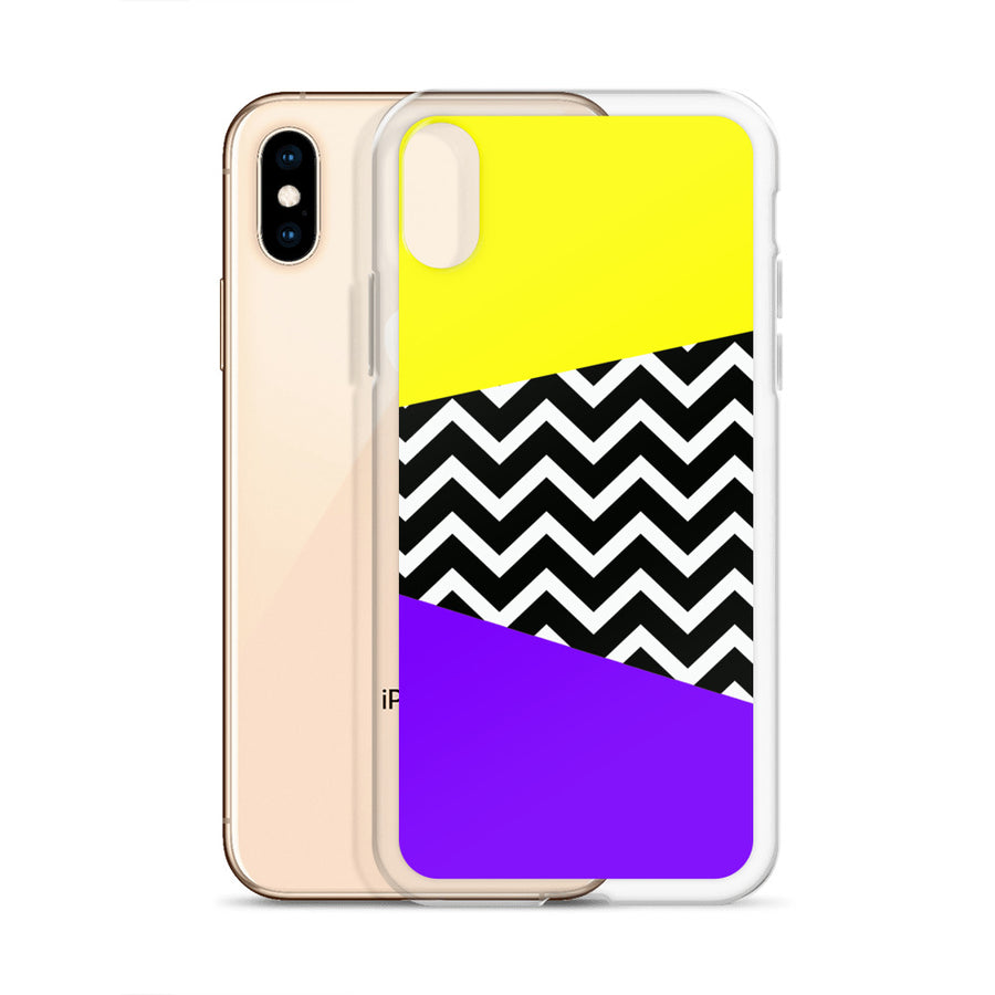 Vintage 80's bright yellow purple chevron pop iPhone Case