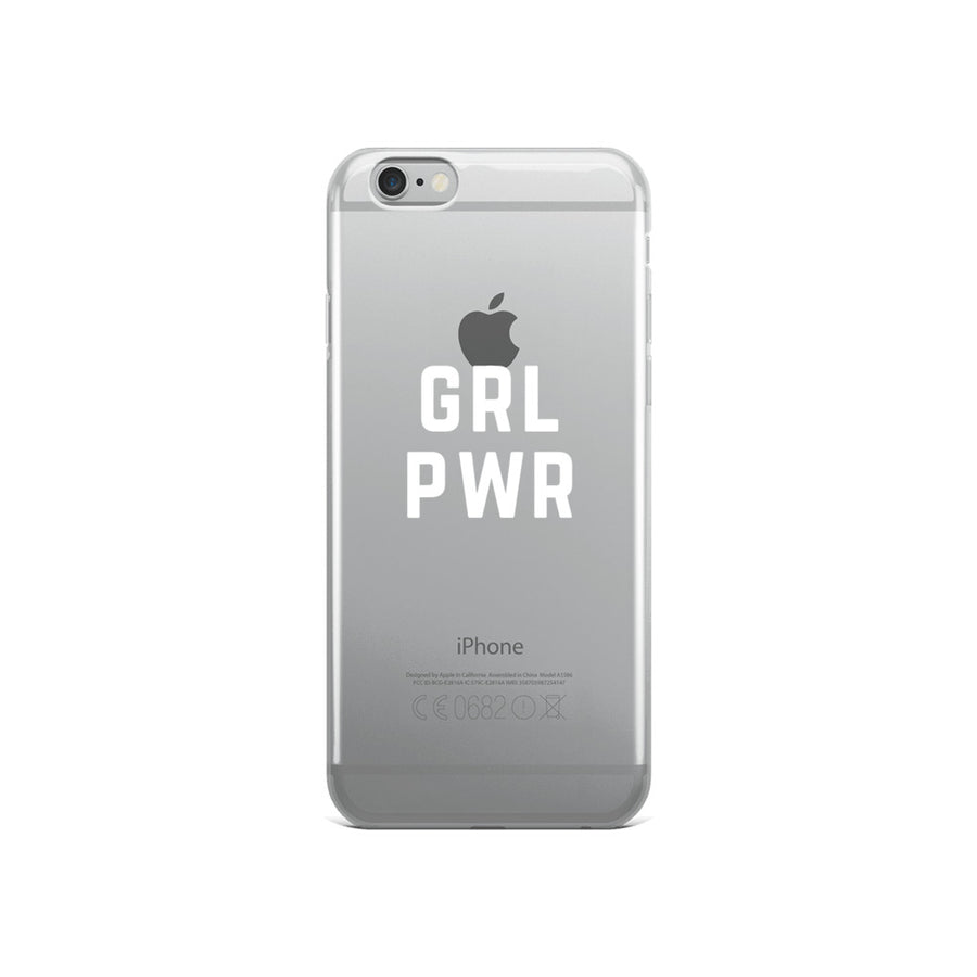 GRL PWR Typography clear transparent iPhone Case