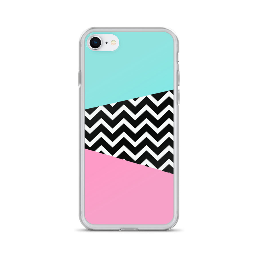 Vintage 80's Miami Blue Pink Chevron Pop iPhone Case