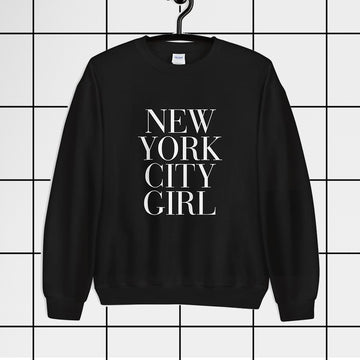 New York City Girl Couture Typography Black Sweatshirt