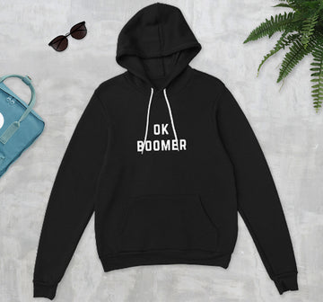 OK Boomer Premium Soft Cotton Fleece Black Unisex Typography Hoodie