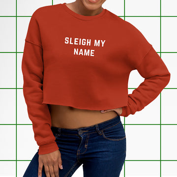 Sleigh My Name Red Holiday Crop Sweater