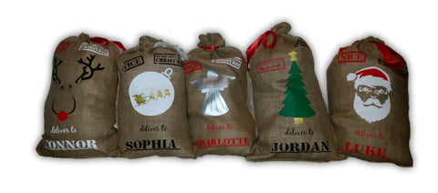 Personalised Hessian Santa Sacks 5 designs to choose from.