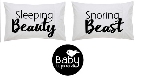 Sleeping Beauty, Snoring Beast (pillowcase pair)