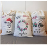 Handmade Personalised Santa Sacks in Calico 10 designs