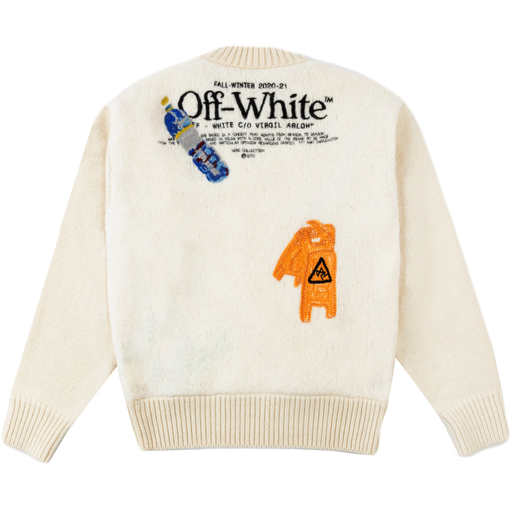 Off-White F20 Pascal Lemon Crewneck, White/Yellow