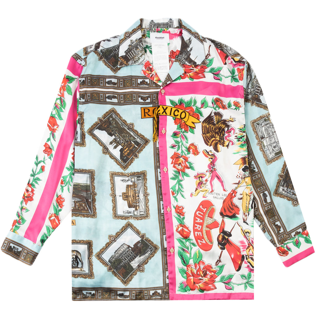 Doublet FW20 Fringe Embroidery Scarf Printed Shirt, Roma/Mexico
