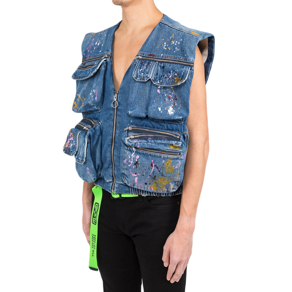 Off-White Denim Vest Vintage Paint