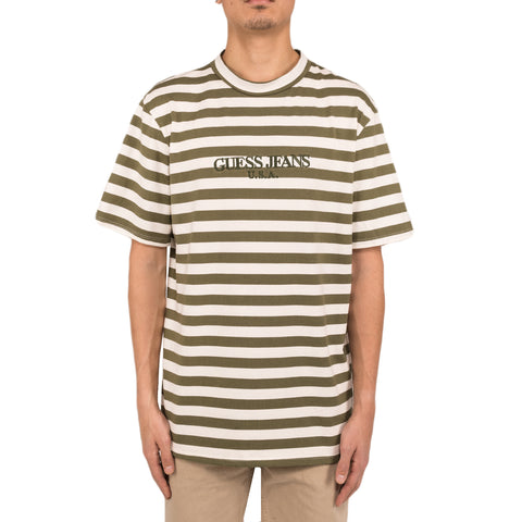 Infinite Archives x Guess Jeans S/S Crew Tee, Olive Night/Aspen White