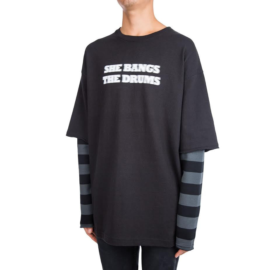 Midnight Studios Layered L/S Striped Tee (Black)