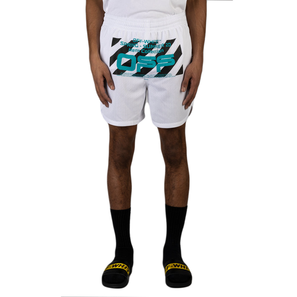 Off-White PS20 Wavy Line Logo Mesh Shorts, White/Black