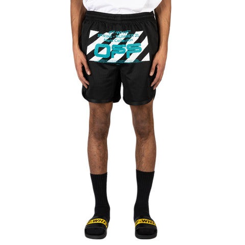 Off-White PS20 Wavy Line Logo Mesh Shorts, Black/White