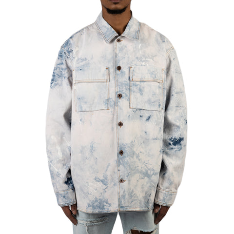 Off-White PS20 Arrow Oversize Denim Shirt, Extreme Bleach