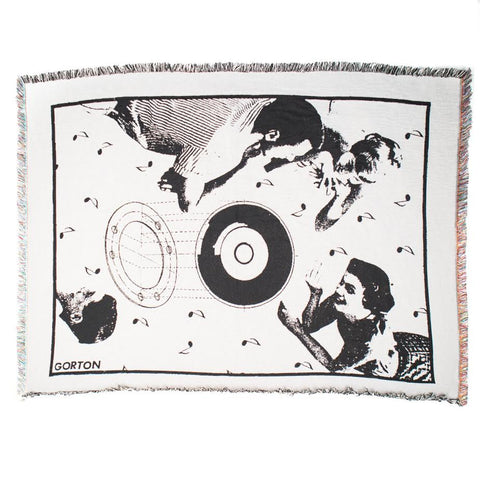 Midnight Studios Modern Dance Collage Blanket (White)