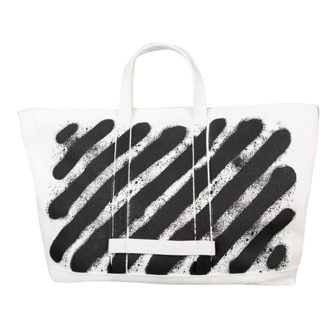 Off White Diag Spray Tote (White)