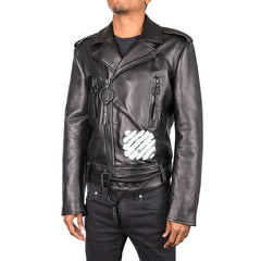Off White Diagonal Spray Leather Moto Jacket (Black)