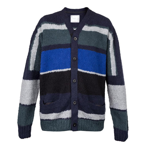 Sacai Stripe Knit Cardigan (Namul/Navy/Multi)