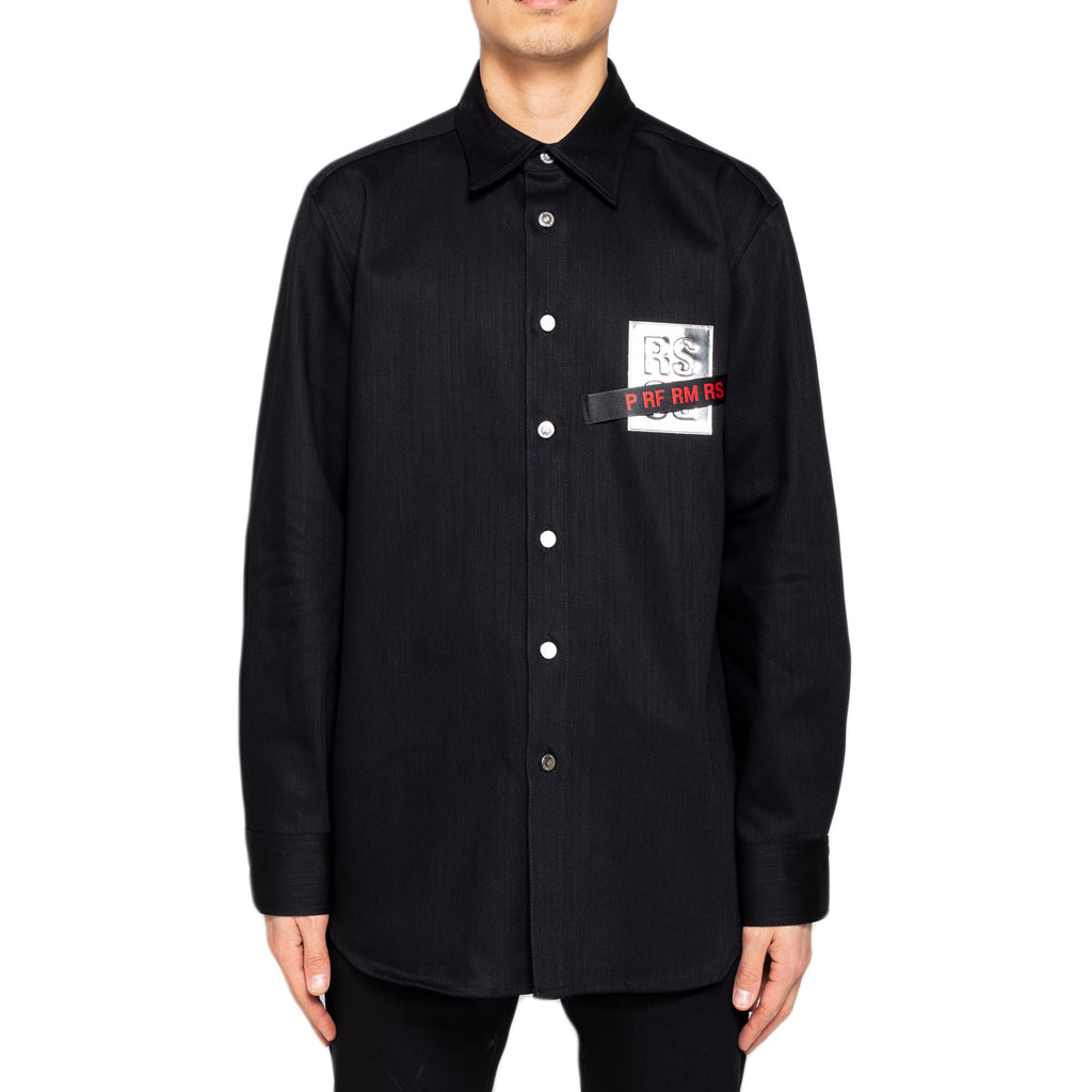 Raf Simons Carry Over Denim Shirt W/ Tape and Patch, Black