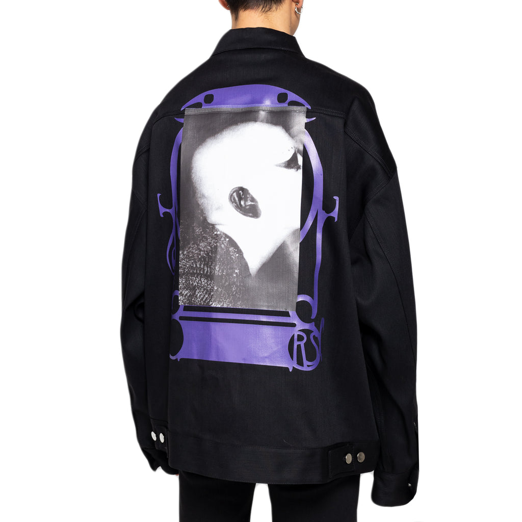 Raf Simons Denim Bold Head Jacket W/ Rings, Black