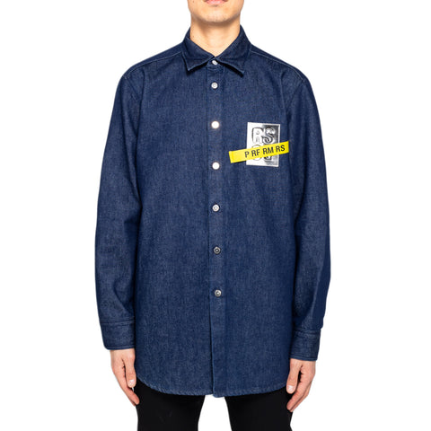 Raf Simons Carry Over Denim Shirt W/ Tape and Patch, Blue