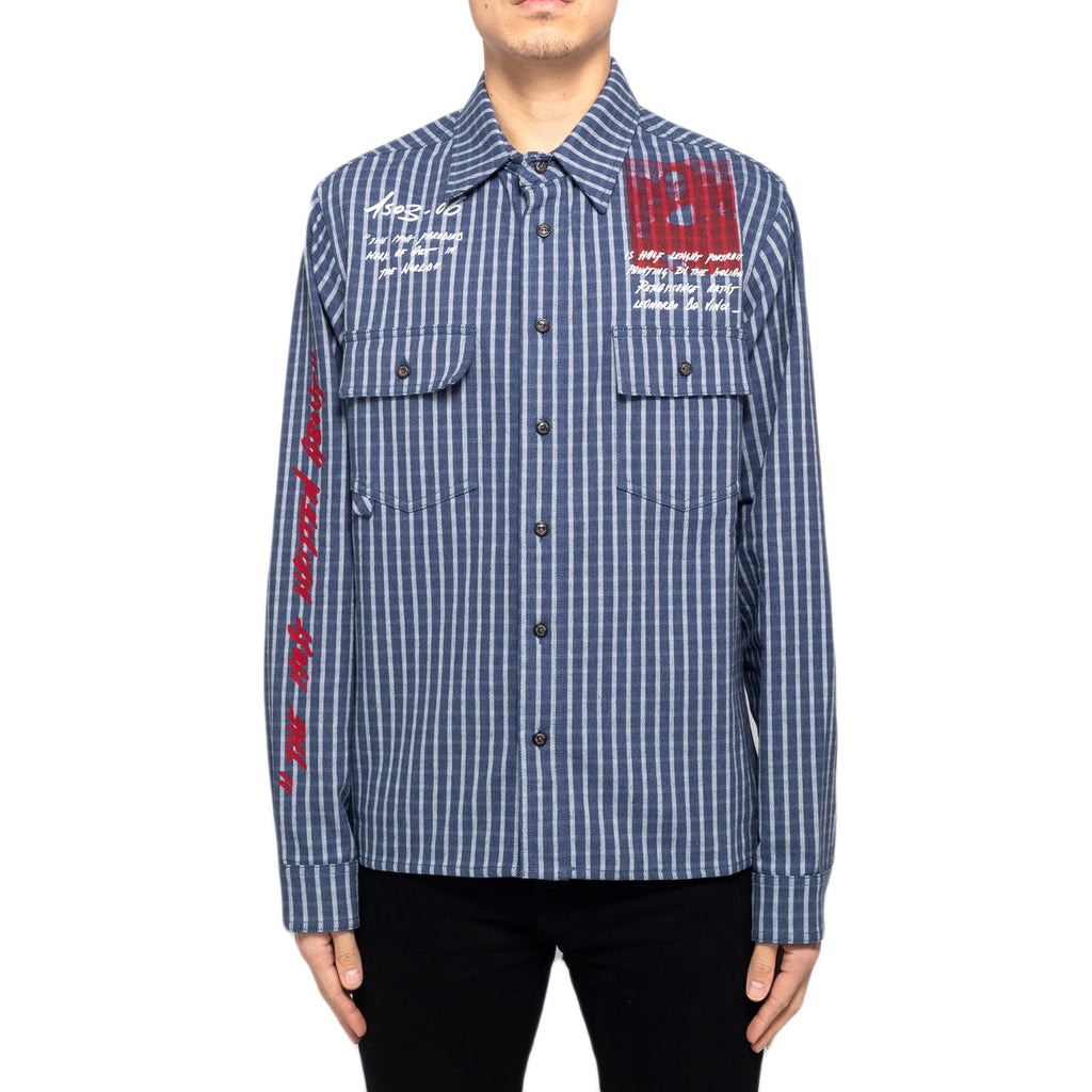 Off-White Monnal Classic Striped Shirt, Blue/Red