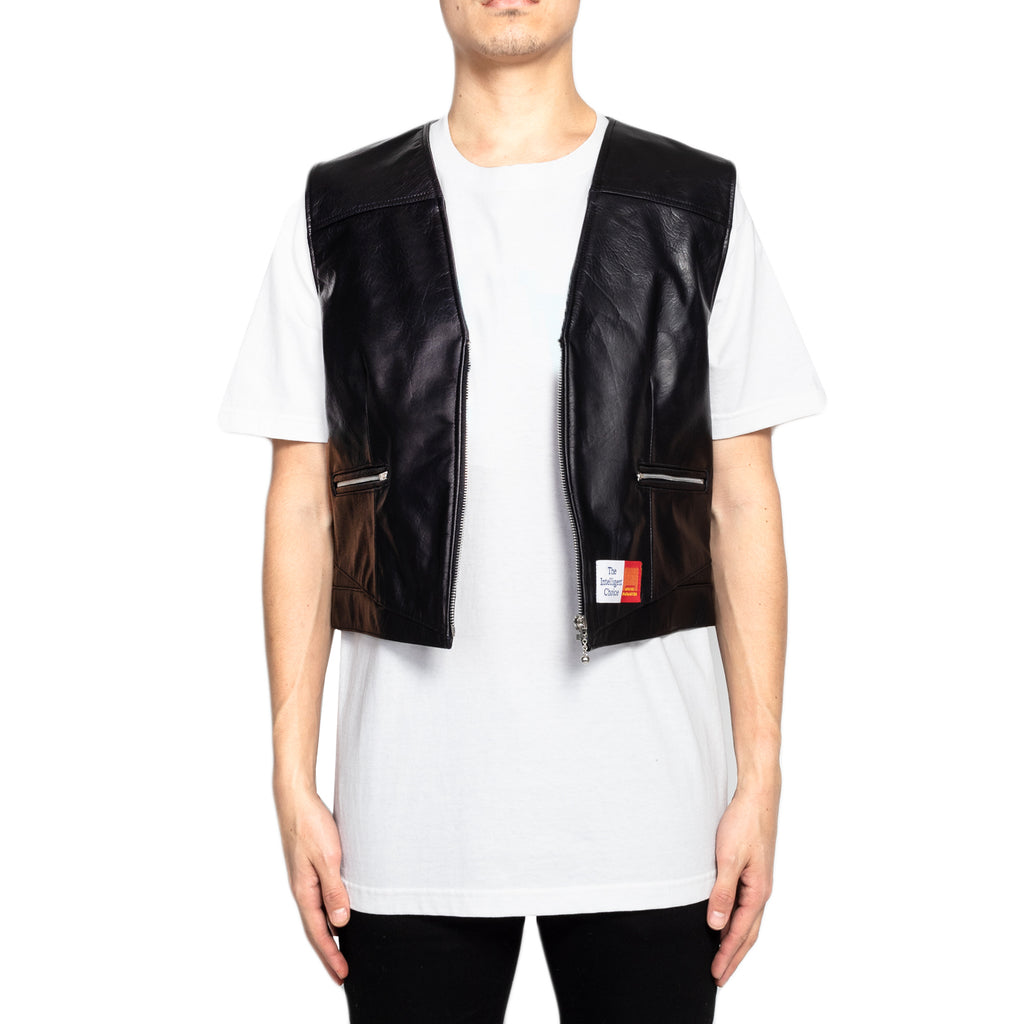 Martine Rose SS19 Leather Waistcoat, Shiny Black