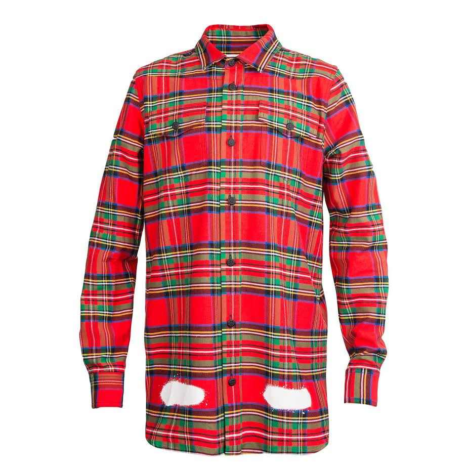 Off-White Diag Spray Check Shirt (Red)