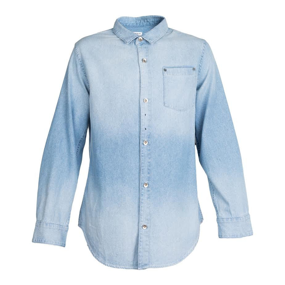 Robert Geller 5 Year Fade Denim Shirt (Indigo)