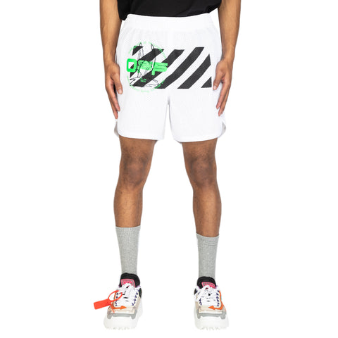 Off-White PS20 Harry The Bunny Mesh Shorts, White/Brilliant Green