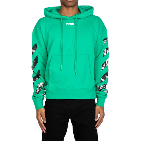 Off-White SS20 Caravaggio Square Over Hoodie, Mint/Multi