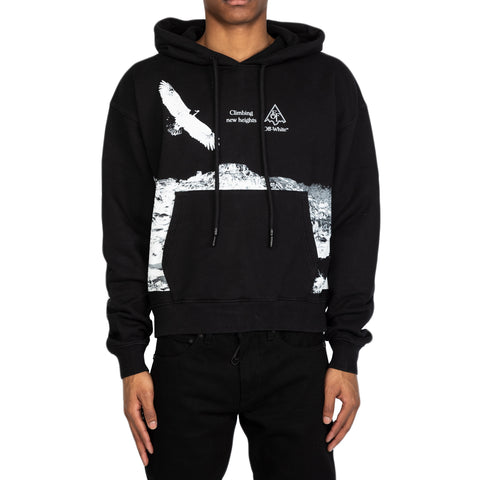 Off-White SS20 Eagle Landscape Over Hoodie, Black/White