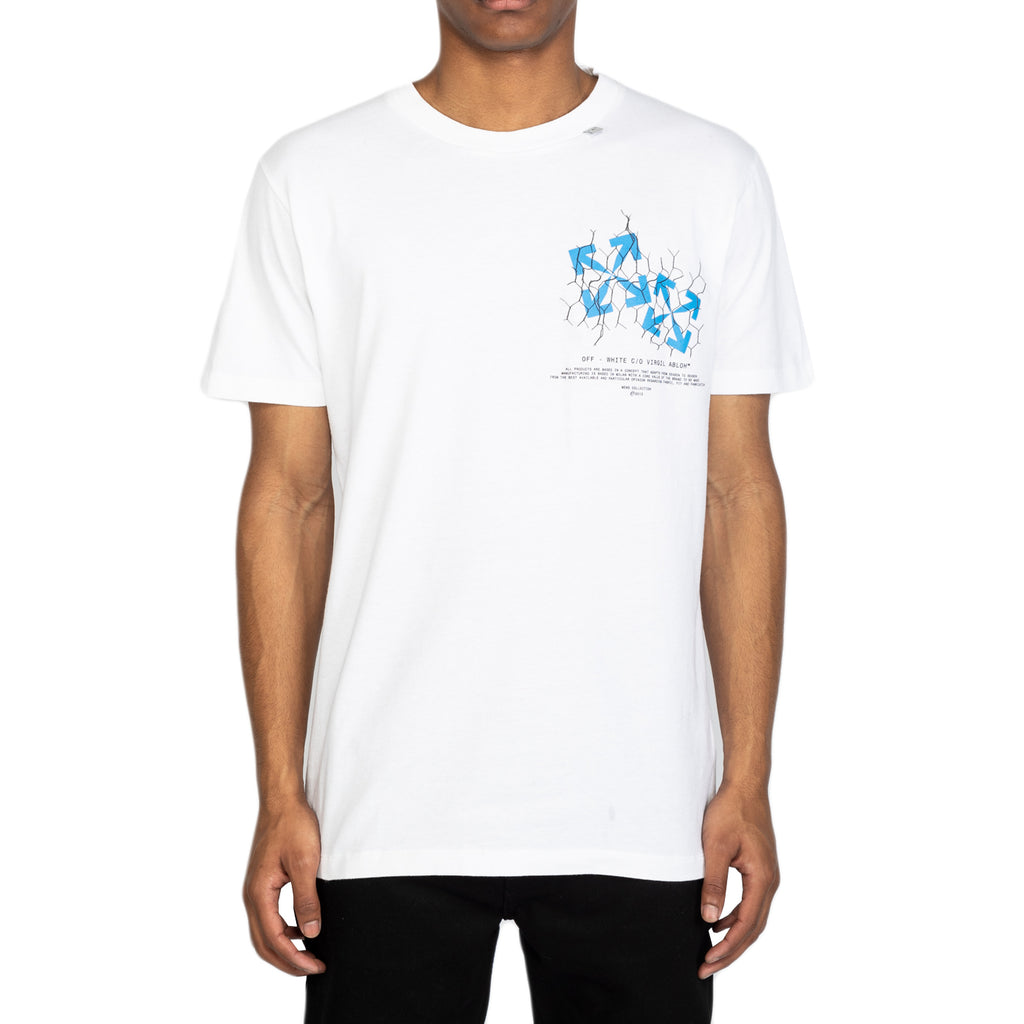 Off-White SS20 Fence Arrow S/S Slim Tee, White/Blue