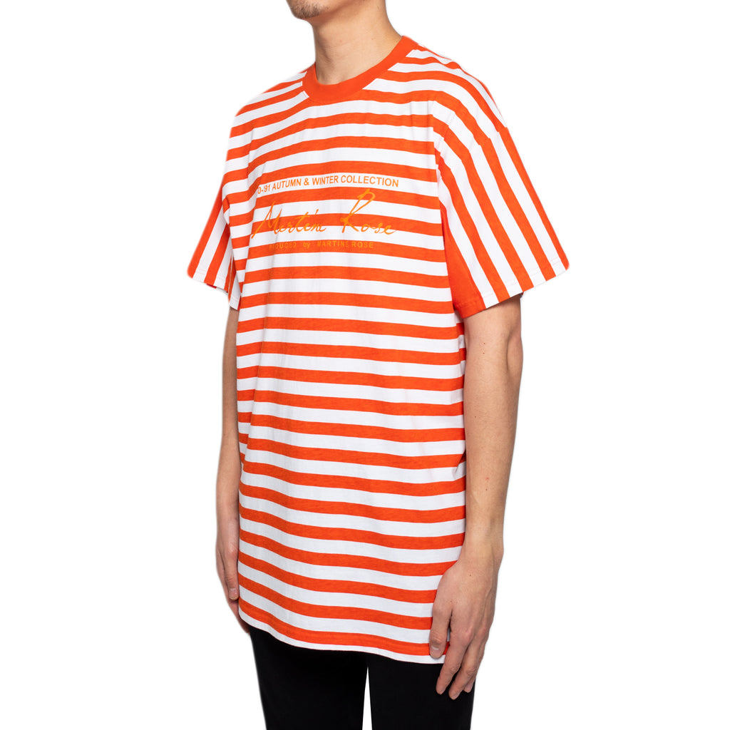 Martine Rose SS19 Oversized Stripe Tee, Orange/White