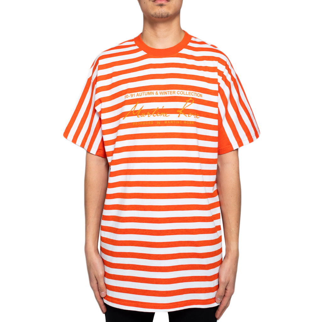 Martine Rose Oversized Stripe Tee, Orange/White