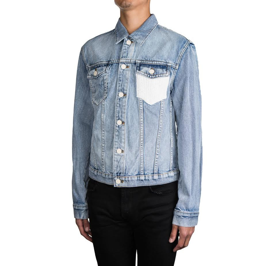 3.1 Phillip Lim Washed Denim Jacket With Crochet Pocket (Washed Indigo)