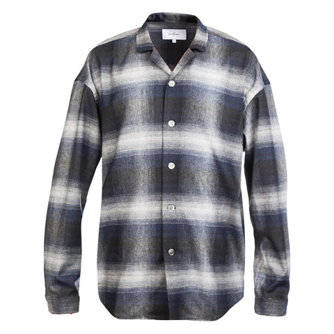 Second Layer Billowed Flat Hem Shirt (Black Check)