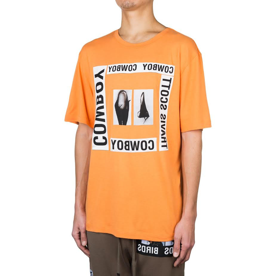 Helmut Lang x La Flame Cowboy Square Print Tee (Safety Orange)