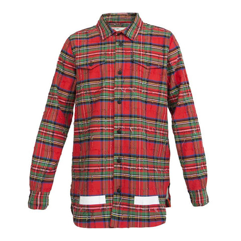Off-White Ripped Check Shirt (Red)