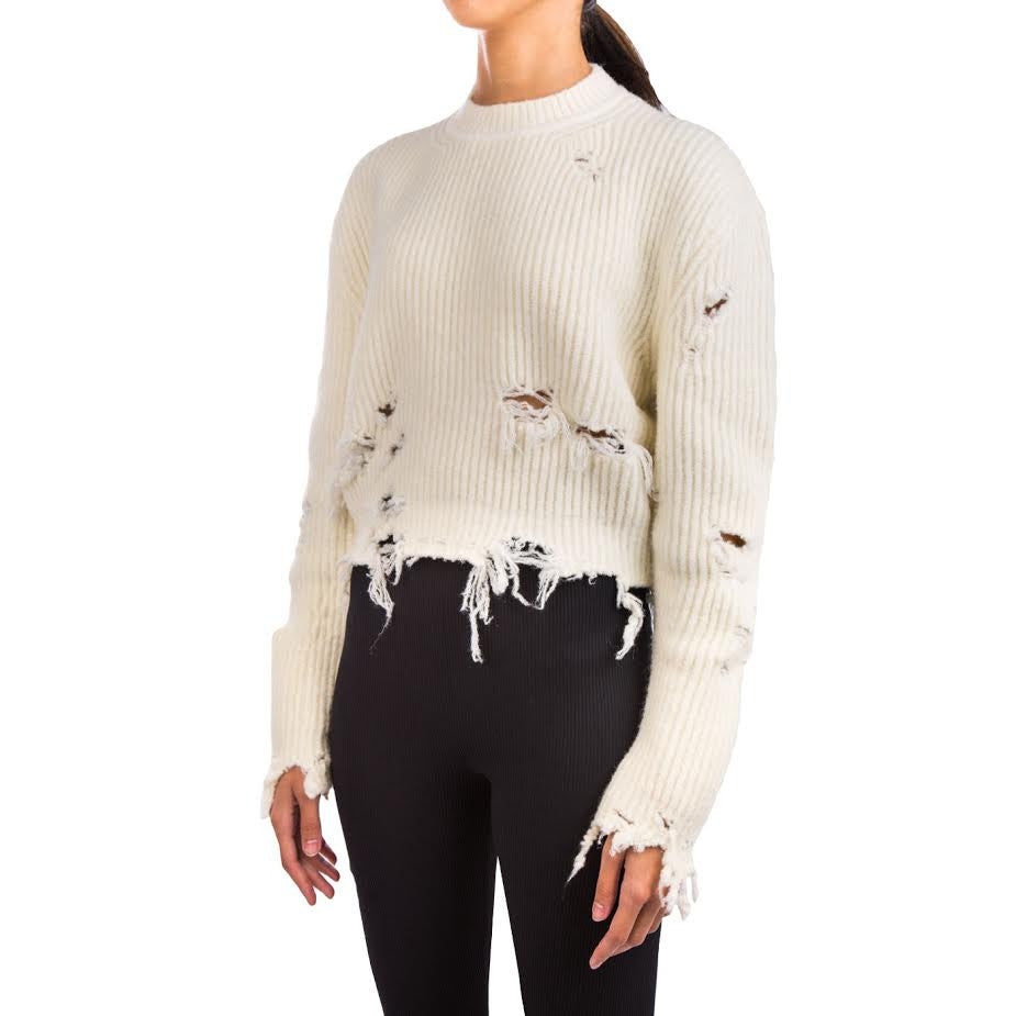 Yeezy Destroyed Cropped Boucle Sweater (Off White)