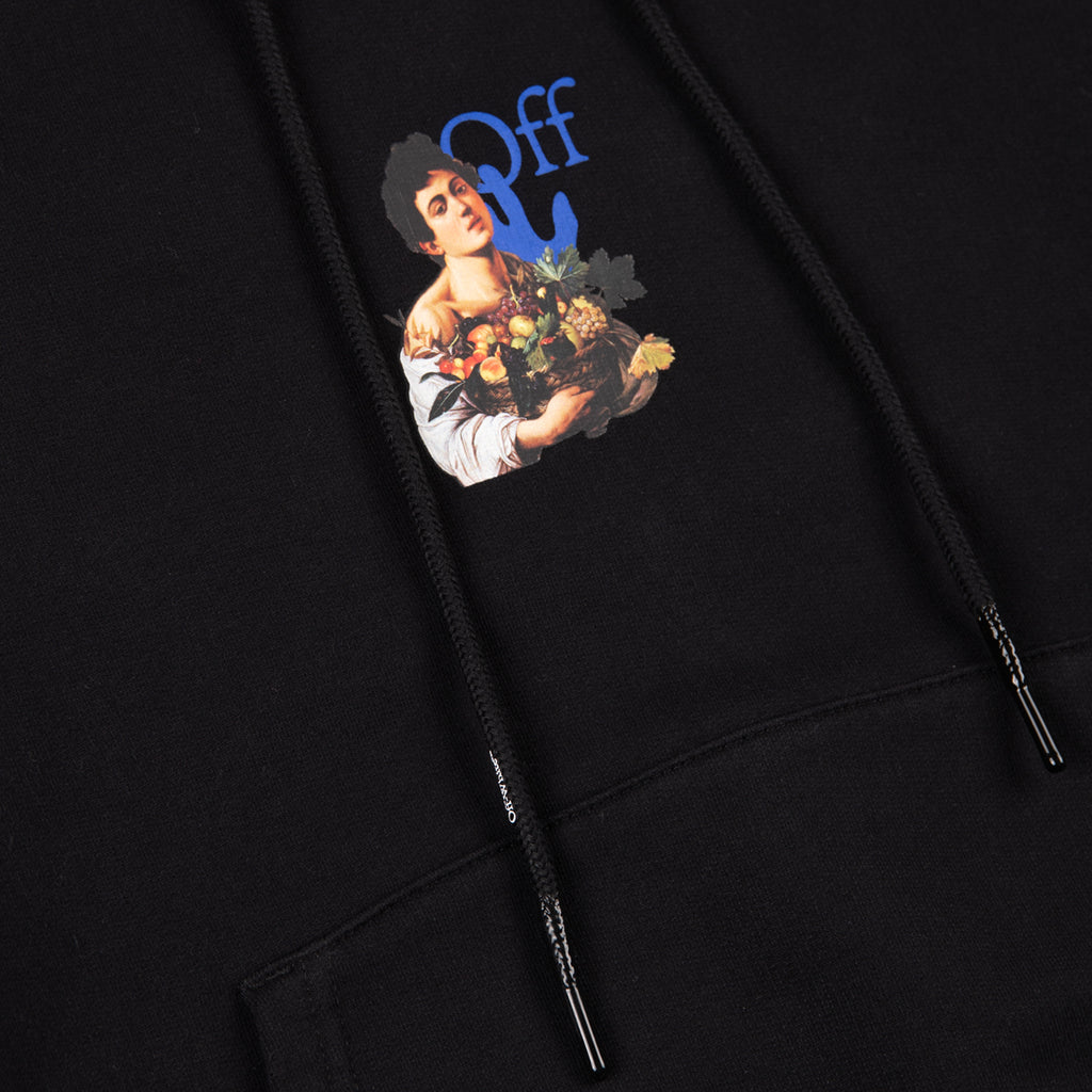 Off-White SS21 Caravaggio Boy Marker Slim Hoodie, Black/Light Blue