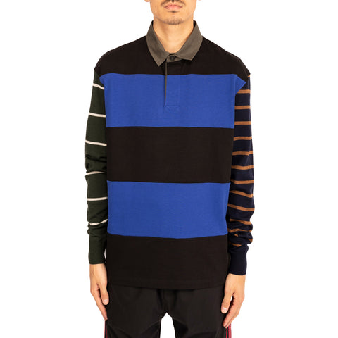 Lanvin PF19 Jersey Knit Mix L/S Polo, Blue/Black