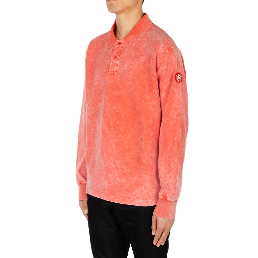 Cav Empt SS19 Bleached Rib L/S Polo Shirt, Orange